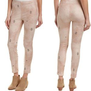 Free People Pink Suede Studded Hi-Rise Pants Sz 25